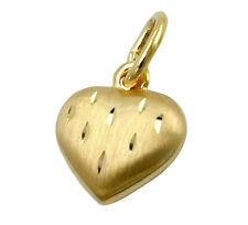 ECHT GOLD *** Herz Anhänger Kettenanhänger matt diamantiert 9 / 13 mm