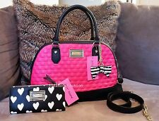 BETSEY JOHNSON bag WALLET SET PINK Black HEARTS STRIPED Bow FAUX LEATHER tote