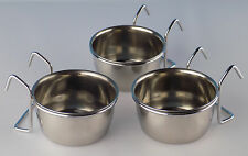 Stainless Steel 5 oz hanging pet bowl / cup / dish for food and water (3 pack)