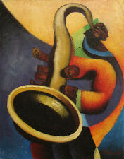 Contemporary Oil Painting of Abstract Musician Playing Saxophone Portrait 12x16""