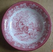 Staffordshire Dessert Or Soup Bowl Pink Red Country Scene Cows Water Mill