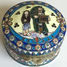 Vintage Solid Silver Russian Style Enamel Box 20th Century Copy 6.5cm X 4cm