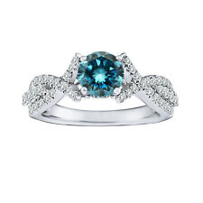 1 Carat Blue Round Diamond Solitaire Halo Fancy Bridal Ring 14K White Gold ASAAR