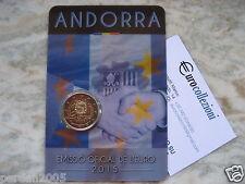 ANDORRA 2015 2 EURO COINCARD 25° ANNIVERSARIO FIRMA ACCORDO EU ANDORRE АНДОРРА ^