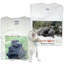 Original One of A kind Printed Photo T-shirts Chimpanzee & Gorilla