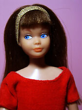 Vintage 1963 S/L Skipper Doll Brunette w/Silk n' Fancy dress,panties,shoes,purse