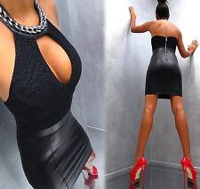 Neu Unique Stretch Schwarz Leather Look Damen Super Sexy J81 Top Dress Kleid M/L