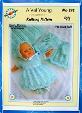 """DOLLS KNITTING PATTERN  No 292 by Val Young to fit  9""""-10"""" doll  4ply yarn"""