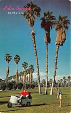 Palm Springs California~Golf Course~Lady Putting~Man in Golf Cart~1950s Postcard