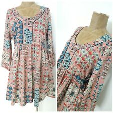 American Rag cie Dress Size Large Peasant Floral Mini BOHO Hippie Ruched
