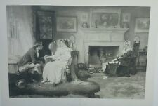 "Detailed 1800s John A LOMAX Antique Etching ""To Bring The Rose's Back"" 29 x 22"