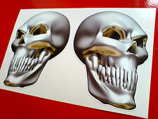 METAL SKULL  Angled Car Motorcycle Stickers Decals 1 pair Handed 88mm