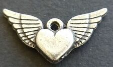 Heart with Wings Love Freedom Mercy Charms Earrings Two Included - Jewelry New
