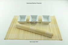 6 Handmade Bamboo Placemats Handmade Table Mats, White-Cream P027