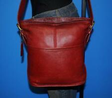 Vtg COACH RED Leather BLEEKER Crossbody Bucket Duffle Purse Bag Made in USA