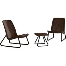 Keter Rio 3 Pc Conversation Chair Set All Weather Outdoor Furniture , Brown