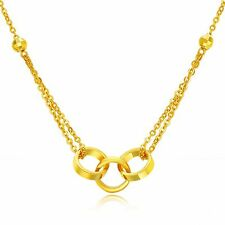Pure 24K Yellow Gold Necklace / Women Three Ring  O Chain Necklace 16.5-16.9''