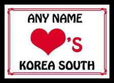 Love Heart Korea South Personalised Mousemat