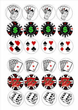 24 icing cake toppers decorations Card games vegas poker dice