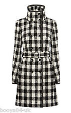 BNWT + KAREN MILLEN + BLACK CHECK WOOL COAT + SIZE UK 10