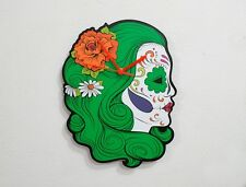Sugar Skull Catrina Calavera Green Hair - Wall Clock