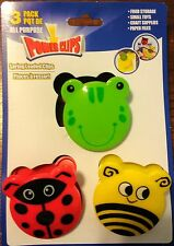 Novelty Office Clip Bumble Bee Frog Lady Bug Chip Bag School Paper 3pk NIB #D3