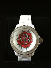 SALE**RARE AUTH TOY WATCH ROSE TATTOO CRYSTAL BEZEL WHITE PLASTERAMIC WATCH-$300