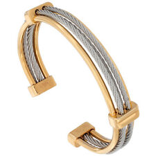 7 in. Stainless Steel 2-Tone (Yellow and Silver) Cable Bangle Bracelet