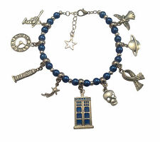 DR WHO TARDIS / POLICE BOX THEMED CHARM BRACELET with TEN CHARMS & SAME DAY POST
