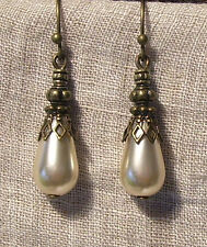 BRASS FILIGREE CREAM PEARL GLASS TEAR DROP EARRINGS VICTORIAN RENAISSANCE TUDOR