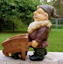 10.5 IN. GNOME WITH WHEELBARROW GNOMES NOME KNOME planter yard ornament statue