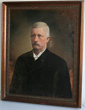 Charming 19th Century American School Antique Oil on Canvas Painting Gentleman
