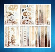 6 sheets chain elephant tiger metallic gold silver flash tattoos bulk wholesale