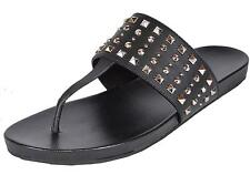 NEW Gucci Women's 370671 Black Leather Studded Thongs Sandals Shoes 37 7