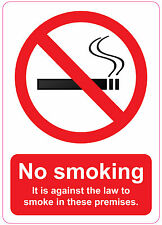 [ 205x290mm ] NO SMOKING - IT IS AGAINST THE LAW | health and safety | stickers