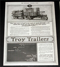 1919 OLD MAGAZINE PRINT AD, TROY TRUCK TRAILERS, FOR QUICK DEPENDABLE HAULING!