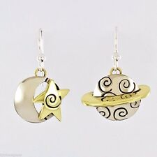 Far Fetched Moon & Saturn EARRINGS Alpaca Silver Brass Planet Dangle Mima Oly
