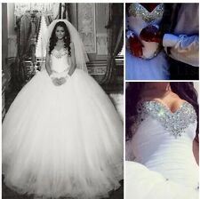 UK Princess White/Ivory Wedding Dress Bridal Gown Size 6-18
