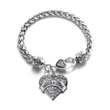 French Bulldog Pave Heart Charm Bracelet Silver Plated Lobster Clasp  Charm