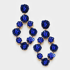 DESIGNER INSPIRED ROYAL BLUE SEQUIN & SEED BEAD FLOWER STATEMENT EARRINGS