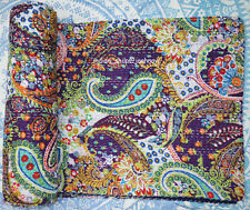 Indian Handmade Quilt King Kantha Bedspread Throw Cotton Blanket Patch Work _09