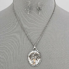 Silver Chain Hammered Plate Copper Tree Design Pendant Necklace With Earrings