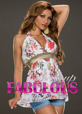 WOMEN'S TOP SEXY EUROPEAN FLORAL HALTER BLOUSE CLUBBING EVENING Size 8 10 S M
