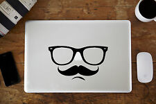 "HIPSTER OCCHIALI BAFFI & Adesivo Decalcomania per Apple MacBook Air / Pro 12 "" 13"" 15 """