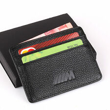 BMW M Slim Mini Wallet 100% Genuine Cow Leather Credit Card Case Men Holder Auto