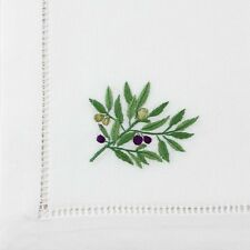1x Olive Branch Embroidered Large 100% Cotton Napkin 50x50cm table linen