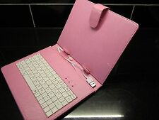 """Pink USB Keyboard PU Leather Case for 8"""" Ployer Momo8 MOMO 8 IPS Tablet PC"""