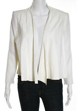 ALICE + OLIVIA Ivory Leather Collared Long Sleeve V-Neck Jacket Sz XS
