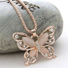 Womens Lady Rose Gold Crystal Sweater Chain Opal Butterfly Pendant Necklace