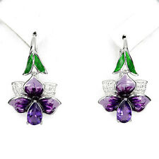 Sterling Silver 925 Pretty Unusual Amethyst and Enamel Violet Flower Earrings